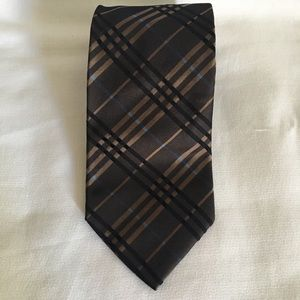 BURBERRY LONDON Brown Blue Plaid Necktie Silk Tie